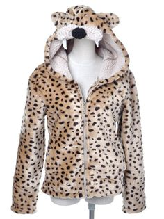 Amazon.com: Anna-Kaci S/M Fit Light Brown Fuzzy Leopard Ears Hooded Sabertooth Zipper Jacket: Clothing