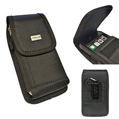 Amazon.com: iPhone 6S PLUS , 6 PLUS {5.5'' version} AIScell Extra Large Ultra Rugged Pouch Case Holster Black Nylon Canvas Velcro Flap w/ Steel Metal Belt Clip Belt Loop [Vertical / Horizontal]+Carabiner+Cleaning Cloth{ fits Phone with LIFEPROOF WATERPROOF , OTTERBOX DEFENDER , UAG , MOPHIE JUICE PACK AIR / PLUS protective cover case on}: Cell Phones & Accessories