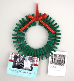 Card Display Wreath Made from Clothespins | 62 Impossibly Adorable Ways To Decorate This Christmas