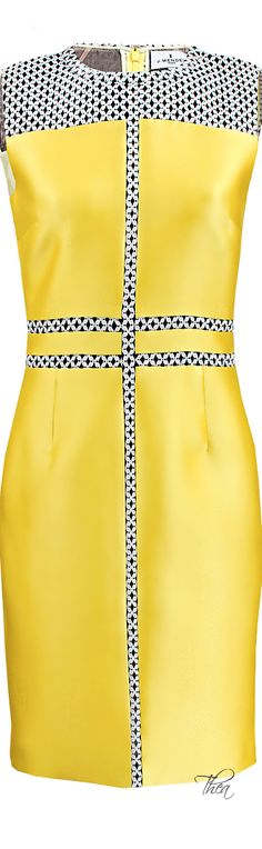 J. Mendel ● Yellow Graphic Lace Dress.