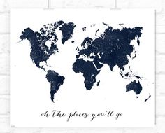 "World map print, distressed vintage texture map printable, travel wall art ""oh the places you'll go"" or custom quote print -pp133- by blursbyaiShop, $5.90"