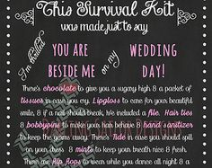 Bridesmaid Survival Kit Poem Pink and White