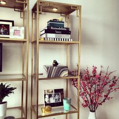 Poppytalk: ikea hacks - Greek Key Goldend Vittsjo Shelves are spray painted gold, and embellished with Metrik door handles in each corner. More info at IKEA Hackers. Gold Shelves, Ikea Shelves, Ikea Bookcase, Ikea Shelf Hack, Gold Bookshelf, Shelving, Vittsjo Hack, Ikea Living Room, Ideas Hogar