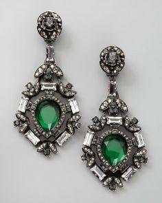 Lanvin Green Crystal Drop Earrings
