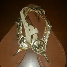 SOLD Michael Kors sandals Gold Michael Kors sandals worn out few times in great condition. These sandals are perfect with maxi dresses, shorts or your favorite pair of jeans. MICHAEL Michael Kors Shoes Sandals