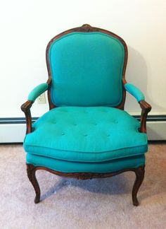 French Bergere chair in teal - these are in my living room!