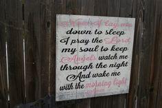 Now I Lay Me Down To Sleep Nursery Sign Pallet Sign Shabby Chic Nursery Girls Nursery Sign Pink and Black Vintage Nursery