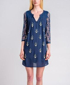 Take a look at this Navy & Ivory Lace-Sleeve Embroidered Dress by I. Madeline on #zulily today!