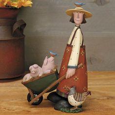 Woman with Wheelbarrow full of Pigs Figurine - Everyday Folk Art Figurines & Collectibles – Williraye Studio - $46.00