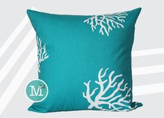 Turquoise Coral Pillow Cover - 18 x 18, 20 x 20 and More Sizes - Zipper Closure - sc1820