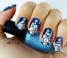 Rhinestone Bling Christmas Tree Nail Art Tutorial {that matches my ugly sweater!}