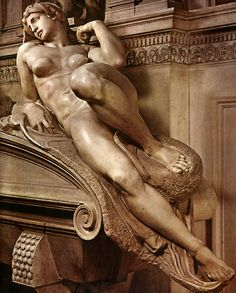 #Aurora, #Michelangelo, 1524-1527 Sagrestia Nuova, #Firenze. Wikipedia