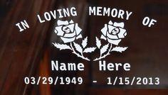 In Loving Memory Roses Vinyl Decal Window Sticker Set of 2