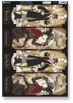 Kanban Steam Punk Time Machine foiled & die cut toppers - Time to Celebrate