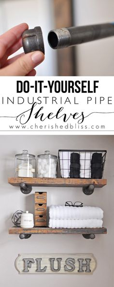 to Build DIY Industrial Pipe Shelves Learn how to Build these Easy DIY Industrial Pipe Shelves for extra bathroom storage.Learn how to Build these Easy DIY Industrial Pipe Shelves for extra bathroom storage. Diy Bathroom, Easy Home Decor, Bathroom Makeover, Industrial Shelving, Home Diy, Shelves, Diy Furniture, European Home Decor, Home Projects