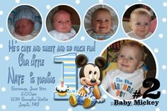 20 Printed Baby Mickey Mouse First  Birthday Invitations Photo -1st (2). $22.00, via Etsy.
