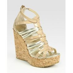 Jimmy Choo Pekabo Metallic Leather and Patent Leather Wedge Sandals