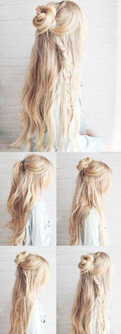 un demi chignon bun style boho, des cheveux longs, tuto pour des cheveux longs
