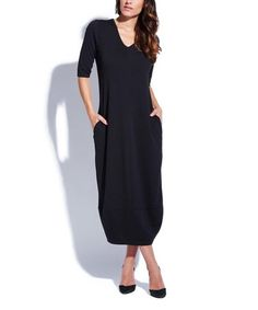 Another great find on #zulily! Black V-Neck Midi Dress #zulilyfinds