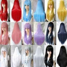 """Colores 8 31""""/80 resistente al calor flequillo pelo sintético de larga recta anime cosplay pelucas peluca llena"""