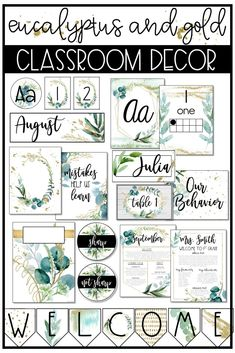Are you looking to do a classroom makeover? This eucalyptus and gold classroom decor bundle is for you! Check out this trendy, geometric, watercolor set! It has calming, nature inspired images to compliment your classroom. Calm Classroom, 4th Grade Classroom, Middle School Classroom, Preschool Classroom, Future Classroom, Kindergarten, Classroom Decor Themes, Classroom Organisation, Classroom Design