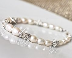 925 Sterling Silver Pearl Bridal Bracelet. Pearl by MARTALILY, £36.00