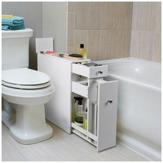 SkyMall Solution of the day: This narrow cabinet is thin enough to fit in the small spaces in your bathroom and provides extra storage for all your needs. Find it on SkyMall.com.