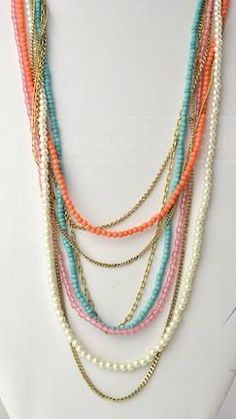 Multi Strand Coral / Turquoise / Pearl / Gold Bohemian Necklace-love the mix of colors on this necklace