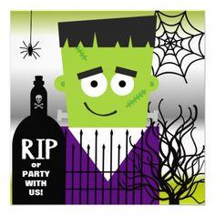 Frankenstein Halloween Party Invitation #halloween #halloween invitations