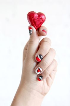 NAIL ART | Valentine's Day Stripes & Hearts | I SPY DIY