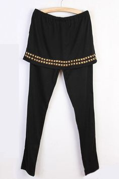 Leggings made of cotton, featuring an elastic waistline, hip hugging design with rivet embellishment, all in a slim fit. $41