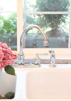 Vintage Inspired Guest Cottage Kitchen - We have been busy working on a few things over here recently. There have been several pretty . French Country Cottage, Country Chic, Painted Cupboards, Kitchen Sink Faucets, Romantic Homes, French Chic, Cottage Homes, Kitchen Remodel, Vintage Inspired