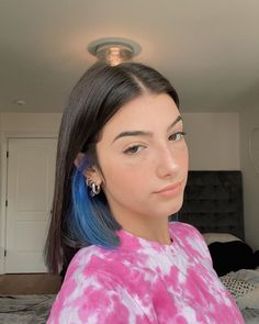 Hair Color Streaks, Hair Color Purple, Brown Hair Colors, Green Hair, Hair Highlights, Purple Dye, Periwinkle Blue, 90s Grunge Hair, Short Grunge Hair