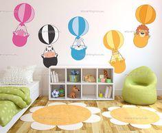 Wall decal hot air balloons