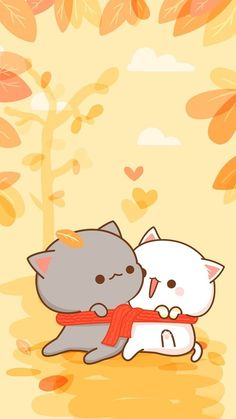 Image in CUTEYUMMYBEAUTIFUL collection by BabyCakes Cute Love Pictures, Cute Love Gif, Cute Cat Gif, Cute Couple Cartoon, Cute Love Cartoons, Cute Kawaii Animals, Kawaii Cat, Cute Bear Drawings, Kawaii Drawings