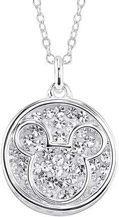 DISNEY Disney Mickey Mouse Crystal Silver-Plated Pendant Necklace