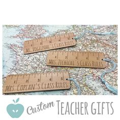 Custom teacher gifts! Laser engraved wooden bookmarks for the teacher that rules! $9.75 customized and ready for gifting. juniperandivy.etsy.com