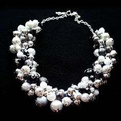 Black, silver, grey and white statement necklace