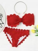 Scalloped Trim Bandeau Bikini Set