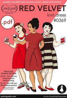 pdf Red Velvet Knit Dress Cake Patterns 0369 by SewingCake on Etsy