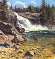 """Early Summer at the Falls"" oil SOLD One place I love to paint is Yosemite National Park. Waterfall Paintings, Seascape Paintings, Landscape Paintings, Oil Paintings, Watercolor Landscape, Abstract Landscape, Mountain Paintings, Environmental Art, Mountain Landscape"