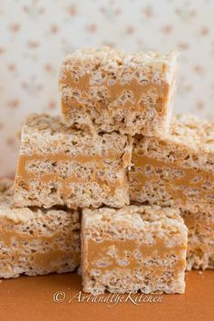 Butterscotch Rice Krispie Squares are made with a smooth peanut butter and butterscotch layer sandwiched between marshmallowy rice krispies.