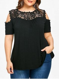 Plus Size Women Tops Blouse Short Sleeve Lace Panel T-Shirt Tee Black Plus Size Shorts, Plus Size Tops, Plus Size Women, Plus Size Dresses, Plus Size Outfits, Sewing Clothes Women, Doll Clothes, Casual Outfits, Fashion Outfits