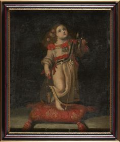 Oficina Espanhola do séc. XVII  Menino Jesus  Óleo sobre tela