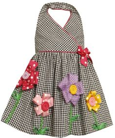 Bonnie Jean Little Girls' Seersucker Halter with Grograin Flowers, Black/White, Baby Girl Dress Patterns, Little Dresses, Little Girl Dresses, Cute Dresses, Girls Dresses, Baby Girl Fashion, Kids Fashion, Kids Frocks, Seersucker
