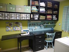 Craftroom Organization - I like the storage up high so little hands don't get into stuff.