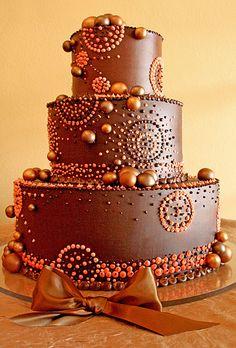 Brides: A Chocolate Buttercream Wedding Cake
