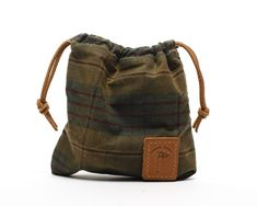 Waxed Canvas Golf Valuables Field Pouch in English Tartan personalized monogrammed Waxed Canvas, Canvas Leather, Tan Leather, Golf Gifts For Men, Tartan Fabric, Pouch, Wallet, Canvas Backpack, Embossed Logo