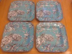 222 Fifth Square Salad Plates. Adelaide Turquoise. Set Of 4. Beautiful. New #222Fifth