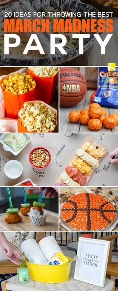 20 Ideas for Throwing the Best March Madness Party - The Krazy Coupon Lady Basketball Party, Basketball Coach, Sports Party, Ball Birthday Parties, Sports Food, Work Party, March Madness, Party Time, Diy Ideas